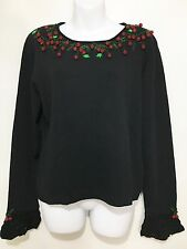 Berek Ugly Christmas Sweater Womens XL Black Pullover Red Hanging Holly Balls