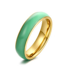 Fashion Gold Filled Thin Band Jade Ring Vintage Charm Size 7 8 10 Promise