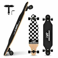 41inch Freeride Longboard Skateboard 8-Ply Natural Maple Black and White Case