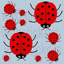 10 colour printed Red Ladybird stickers decals wall , car, furniture, fridge etc