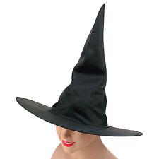WITCH HAT BLACK NYLON PLAIN HALLOWEEN FANCY DRESS