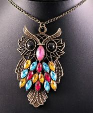 Large Rustic Alloy Gemstone Owl Statement Necklace w/Free Jewelry Box/Shipping