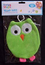 baby childrens cute novelty owl bath wash mitt flannel sponge