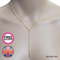 NEW Y SHAPED GOLD PLATED BAR PENDANT LARIAT NECKLACE CHAIN BOHO LADIES WOMENS UK