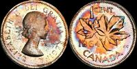 1964 CANADA 1 CENT PROOF COLOR TONED HIGH GRADE COIN