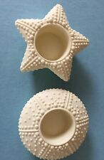"""Set of 2 PartyLite """"Sea Drifters"""" Bisque Tealight Candle Holders Beach Coastal"""