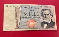 Banca D'Italia Lire Mille Banconote (Stesso come Immagine) Vecchio Nota