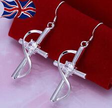 925 Sterling Silver plated Crystal Cross Earrings Pretty Swirl Dangle UK