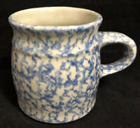 The Workshop Gerald Henn Roseville Ohio Ceramic Blue Spongeware Cup Mug