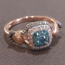 LeVian Chocolate & Blueberry Diamond Cushion Halo Ring 14K Rose Gold-NEW-SALE