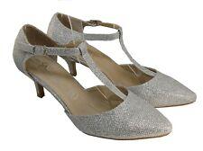 Zapatos de Novia Danza Pequeño Tacón Tiras con Brillo en Plata LX1905