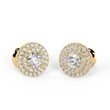 0.60 Ct Round Diamond Double Halo Stud Earrings, UK Hallmarked 18k Yellow Gold
