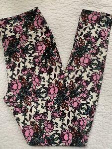 Lularoe Leggings OS Cream w/ Pink Flowers Roses Blue Leaves VINTAGE Floral