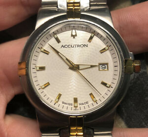 Men's Accutron Greenwich Gold & Silver Swiss Made Sapphire Crystal Watch 28B72