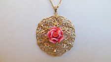 """Arte d'Argento 18K Yellow Gold Sterling Lace Design Rose Pendant with 18"""" Chain"""