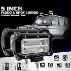 """72w 5"""" Flood LED Light Bar Flush Mount Driving Work Fog Lamp Offroad Truck"""