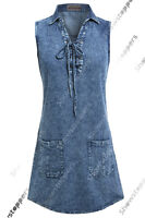 NEW Womens Vintage Denim Dress Ladies Jean Sleeveless Dresses Size 8 10 12 14