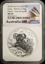 2018-P Australia 2 oz Silver Koala Mother & Baby Piefort NGC MS69 Early Releases