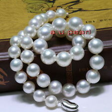 """AAAAA perfect ROUND 18""""13-16mm REAL natural south sea white pearl necklace 14K"""
