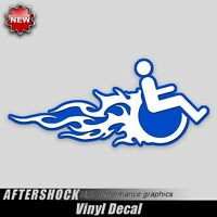 Wheelchair Handicap flames decal fast van car sticker