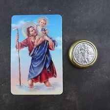Catholic St. Christopher car plaque gift magnet adhesive gold + prayer card