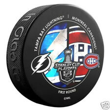 TAMPA BAY LIGHTNING MONTREAL CANADIENS 2014 Round 1 Playoffs DUELING LOGO PUCK