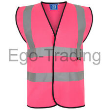 Orange Yellow Pink High Viz Hi Vis Visibility Work Wear Safety Jacket Vest EN471