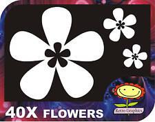 40 White Oriental Flower Car Stickers Decals Graphics Body Panel Window