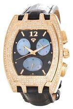 Aqua Master Men's Black Dial Gold Case Leather Band Diamond Watch W#35
