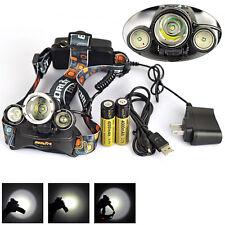 BORUIT 10000LM 3X XM-L T6+2 R5 LED Headlamp Headlight Torch 18650 AC/USB Charger