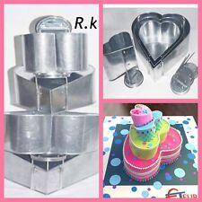 "4 Tier Topsy Turvy Heart Birthday Wedding Anniversary Cake Tin  6"" 8"" 10"" 12"""