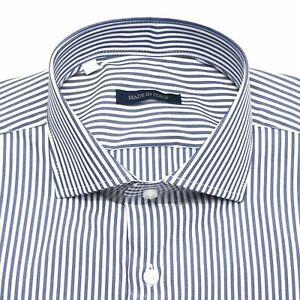 Camicia Da Uomo a Righe Slim Fit  Bianca Blu Cotone Made In Italy s m l xl 2xl
