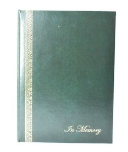 """In Memory Funeral Guest Book Green 7"""" x 9.5"""" Condolence Book Life Memory New"""