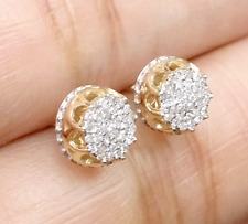 DEAL! 10K Yellow Gold Real Diamond Studs 9.30mm Men's 3D Pave Earrings 0.33 CTW