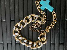 8 inch Gold Bracelet with Turquoise cricifix