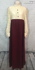 Vintage Lace Dress Red Velvet Long Sleeve Zombie Wedding Bride Scary Costume S