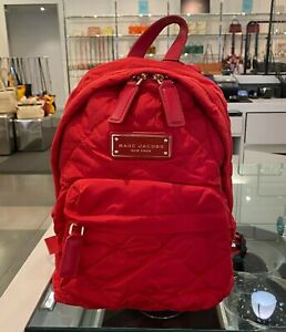 MARC JACOBS Quilted Nylon Mini Backpack CHERRY RED #M0016679 $195 NWT