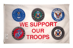WE SUPPORT OUR TROOPS FLAG BANNER MILITARY VETERAN NAVY AIR ARMY MARINE COAST US