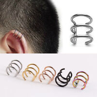Vogue Titanium steel Hoops Closure Fake Cartilage Clip Ear Cuff Earring XM273E