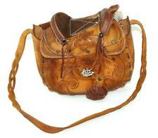 Vintage Women's Floral Western Leather Saddle Handcrafted Cowgirl Shoulder Bag