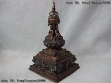 Tibet Buddhism Old Bronze Painted Shakyamuni Buddha Stupa Pagoda Tower Statue