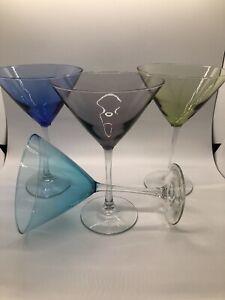 Vintage Martini Glasses Set Of 4 Multicolored Clear Stem