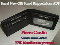 Pierre Cardin-RFID Blocking-Fine Genuine Italian Leather Mens Bifold Slim Wallet