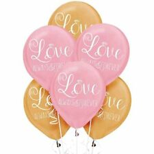 Sparkling Wedding Latex Balloons (6) ~ Wedding Party Supplies Helium Gold Pink