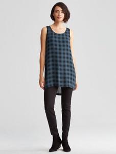 Eileen Fisher 100% Silk Blue Black Buffalo Check Sleeveless Tunic Tank Womens XL