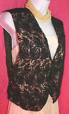 KENAR Black Floral Beads on Gold Mesh Snap Up Vest Sz M Satin Back w/ Tie Dressy