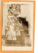 Real Photo Postcard RPPC - Students on Steps - Barefoot Boy with Bow and Arrow