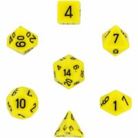 POLYHEDRAL 7-DIE OPAQUE DICE SET - YELLOW WITH BLACK