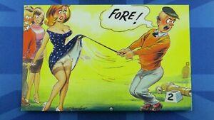 Saucy Bamforth Comic Postcard 1960's Big Boobs Nylons Stockings Golf Club FORE !