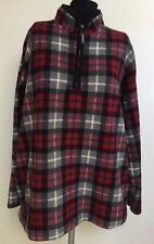 Catalina Fleece Shirt-Partial Zip Close-Black Red Gray White Plaid-L-Warm!!